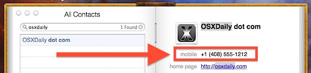 Small phone numbers in OS X Contacts app