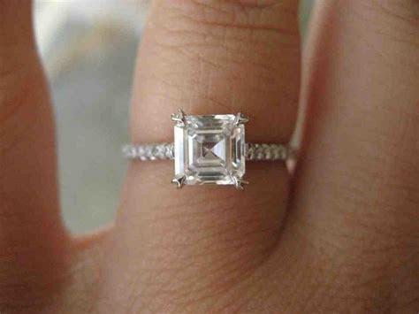 1 Carat Asscher Cut Engagement Ring   Wedding and Bridal