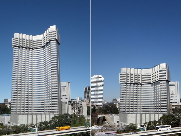 Combinação de imagens de 10 de novembro de 2012 (à esquerda) e da última quarta-feira (20) mostram um hotel que está sendo 'demolido' em um processo diferente no centro de Tóquio. O prédio, que tinha 40 andares e 140 m, já está com metade de sua altura. (Foto: AFP/Taisei Corporation/Seibu Properties)