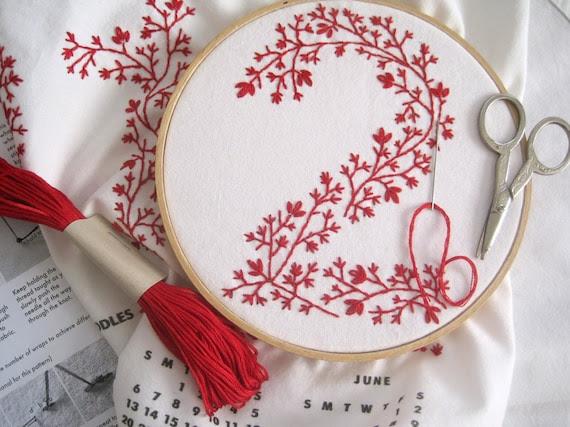 2012 Calendar Tea Towel DIY Embroidery Kit