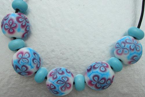 Batik lentil bead set
