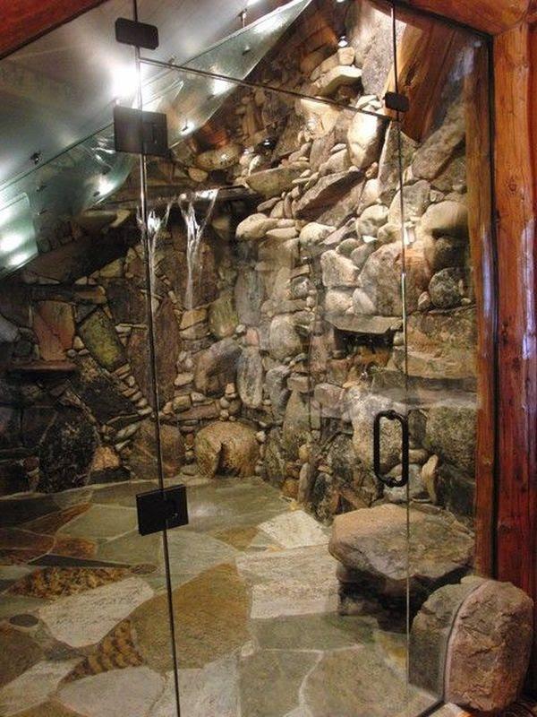 15 natural rock shower room
