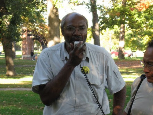 Abayomi Azikiwe, editor of the Pan-African News Wire, covering an immigrant rights rally in Clark Park in southwest Detroit on Oct. 12, 2008. (Photo: Alan Pollock). by Pan-African News Wire File Photos