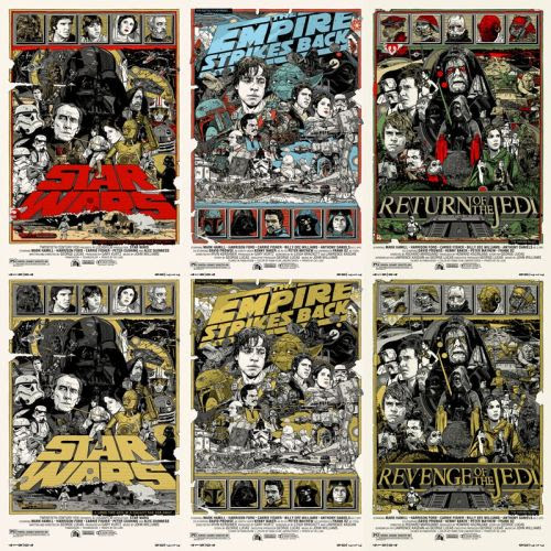"""Tyler Stout'sStar Wars Posterswill be for sale atMondoFriday 12/31! Each24″ x 36″main edition print will be $50 while the variants will be $100. Follow@MondoNewsfor the (Random) """"on sale"""" announcement. Star Wars Posters by Tyler Stout (Blog) Via: OMG Posters"""