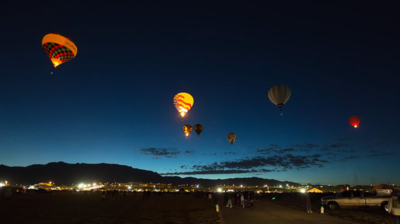 Albuquerque Balloon Festival Timelapse timelapse New Mexico hot air balloons flight
