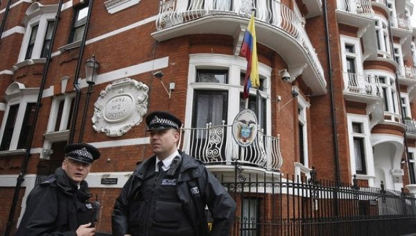 British security outside the Ecuadorian Embassy in London