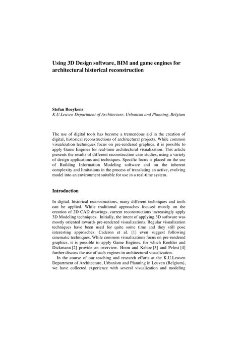 (PDF) Using 3D Design software, BIM and game engines for