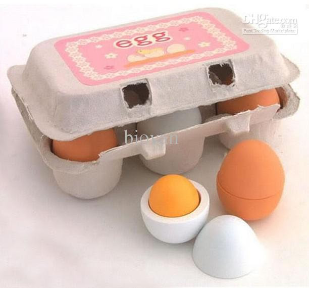 Best Wooden Eggs Yolk Pretend Play Kitchen Game Food Cooking