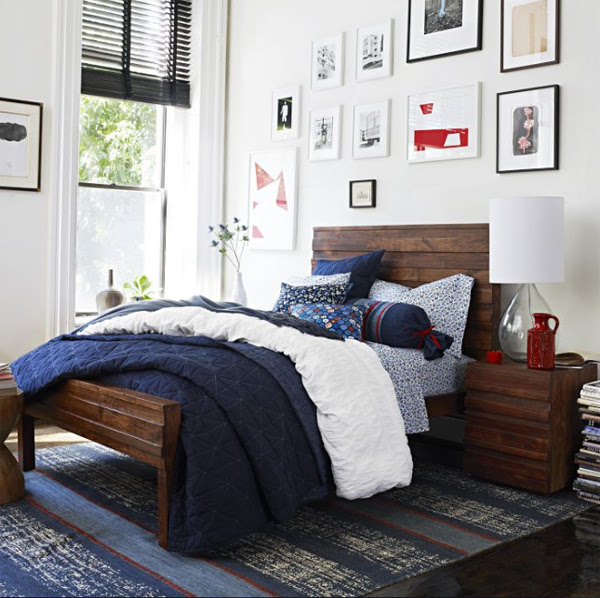 deep sea bedroom design with nomad coverlet