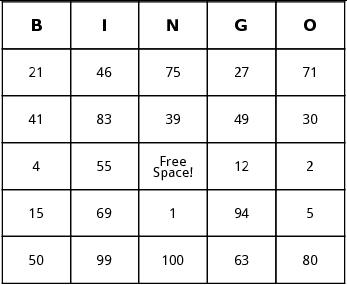 number bingo by Bingo Card Template