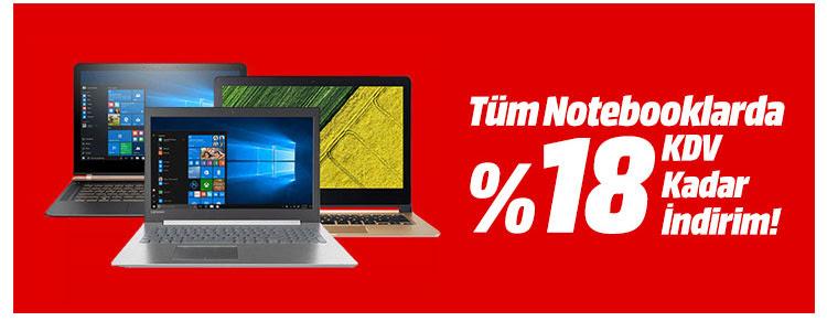 Tüm Notebooklarda %18 KDV Kadar İndirim!