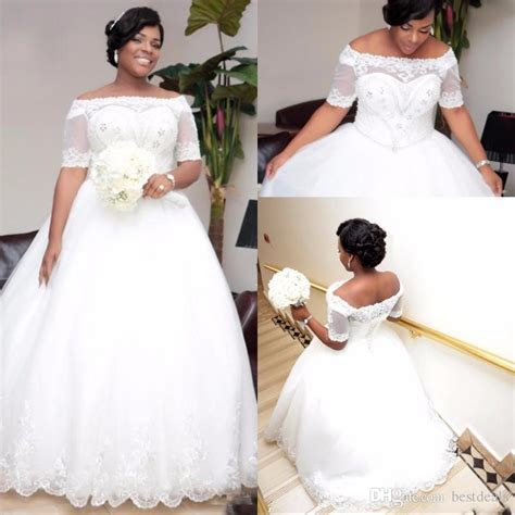 Discount Shinning Boat Neck Ball Gown Plus Size Wedding