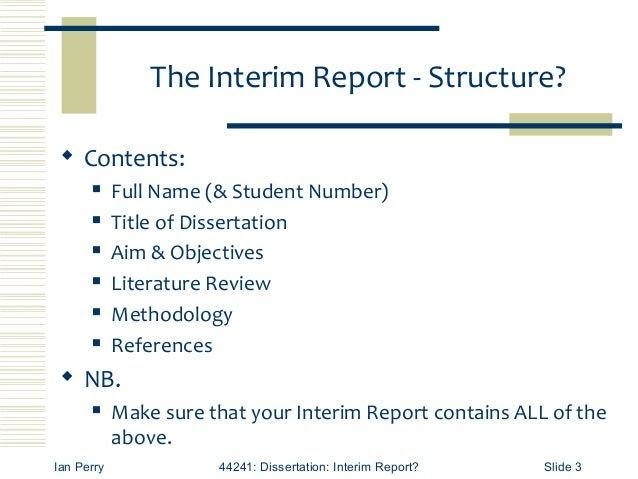 interim report requirements 3 638