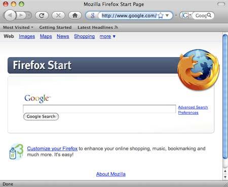 Firefox rodando num Mac OS