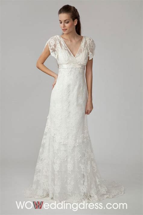 short sleeve short wedding dress   Lovely V neck Short