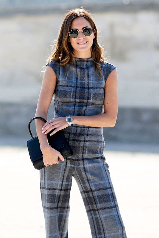 Le Fashion Blog Blogger Street Style Round Sunglasses Tartan Jumpsuit Black Small Top Handle Bag Classic Watch Pfw Via Refinery29