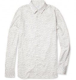 Jil Sander Net-print Slim-fit Cotton-blend Shirt