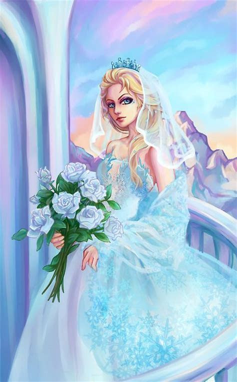 Elsa in a wedding dress . I ship her with Jack Frost