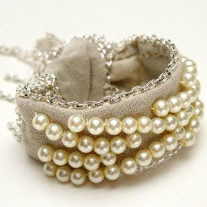 Pearl and Chains Fabric Bracelet | AllFreeJewelryMaking.com