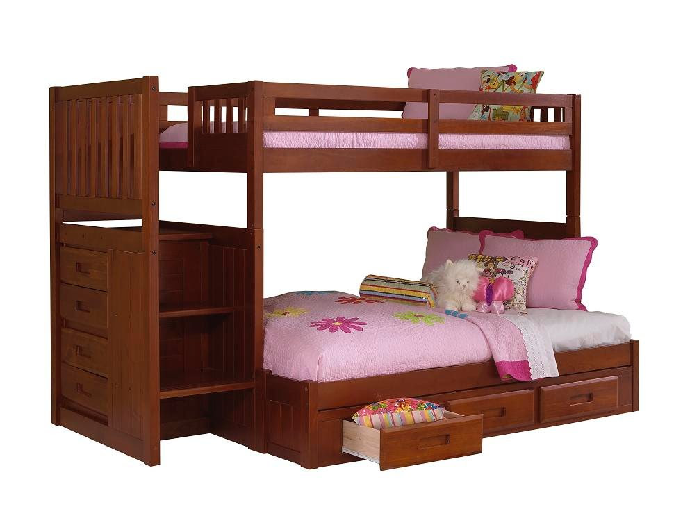 Discovery World Furniture Twin Over Full Merlot Staircase Bunk Bed – KFS STORES