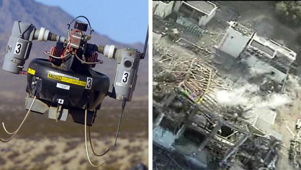 O T-Hawk (à esquerda) foi usado em Fukushima para registrar imagens dos reatores danificados. No futuro, drones poderão ser usado na limpeza de material tóxico (Fotos: Engadget/CNN)