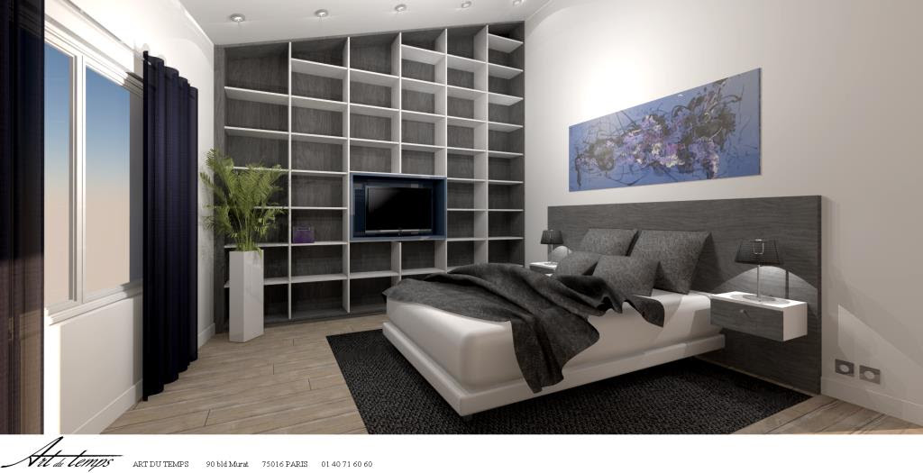 chambre adulte avec rangement tete de lit. Black Bedroom Furniture Sets. Home Design Ideas
