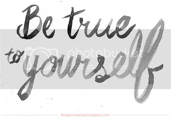 Be True to Yourself - watercolour hand lettering by fathima kathrada at Happiness is...