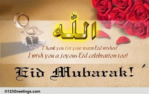 Thank You For Eid Wishes  Free Thank You eCards