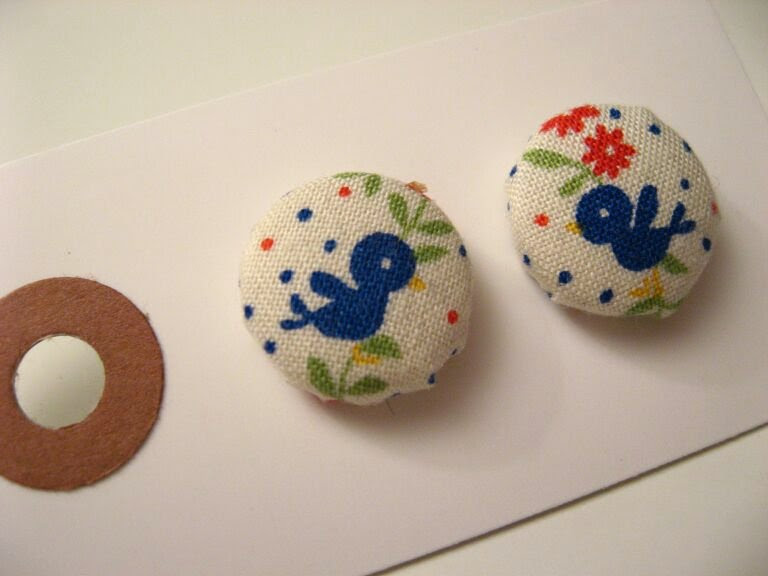 fabric covered stud earrings