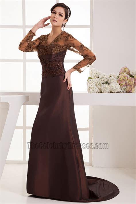 Elegant Brown Long Sleeves Formal Dress Evening Gowns