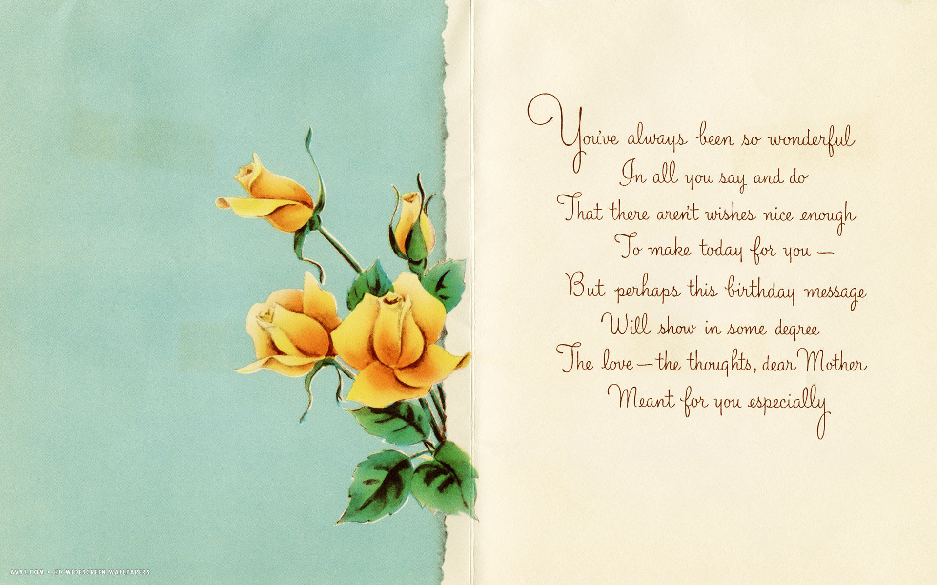 Happy Birthday Dear Mother Message Card Yellow Roses Love Hd