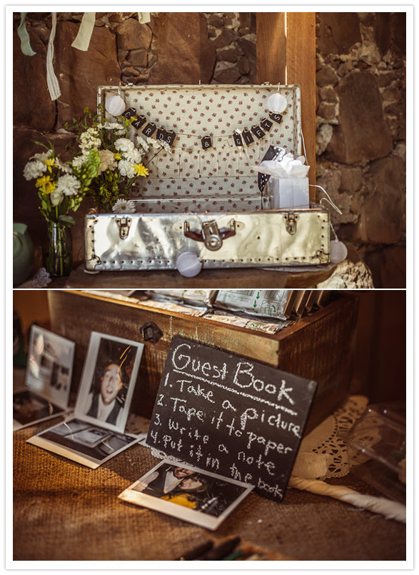 suitcase and chalkboard entry table decorations