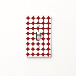 White Polka Dots on Red Light Switch Covers