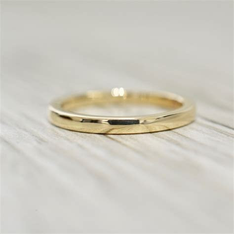 2.2mm Flat Edge Wedding Band in Yellow