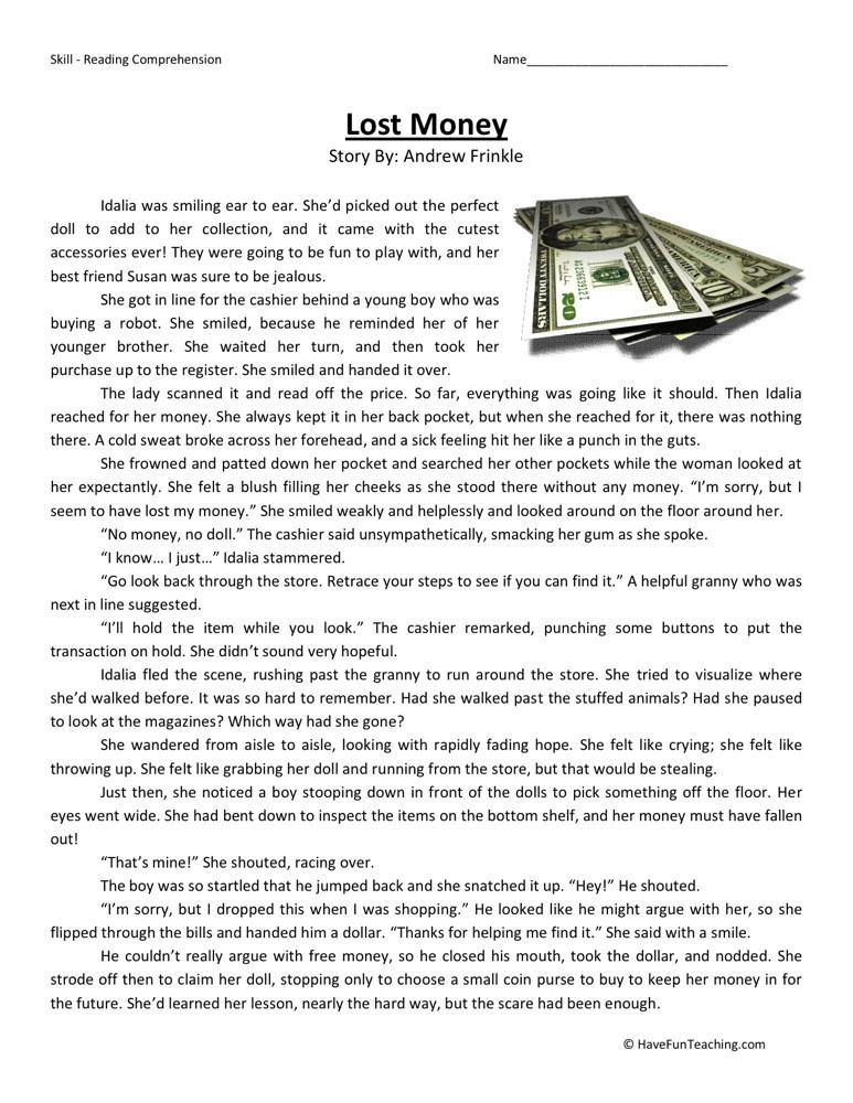 Reading Prehension Worksheet Lost Money