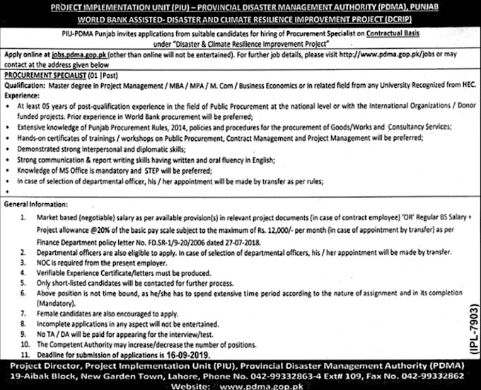 Provincial Disaster Management Authority PDMA Punjab Jobs 2019 Apply Online