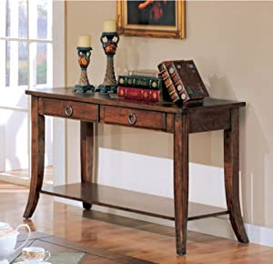 Amazon.com: Sofa Table With Storage Drawers In Rich Brown Finish ...