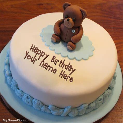 Write name on Teddy Bear Birthday Cake   happy birthday