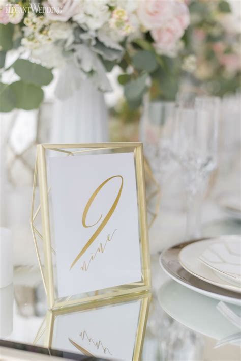 Gold geometric table number decor for a wedding! NORDIC