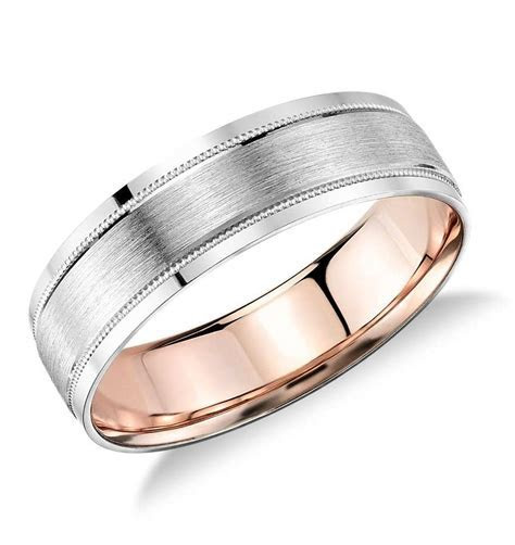 Milgrain Brushed Inlay Wedding Ring in Platinum and 18k