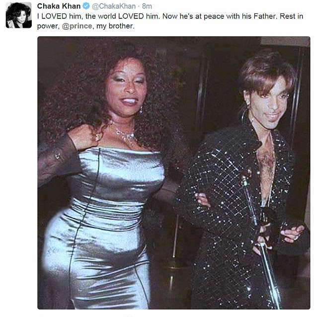 'I LOVED him': Chaka Khan, who had a hit with Prince's song I Feel For You in 1984, expressed her huge affection for the diminutive star