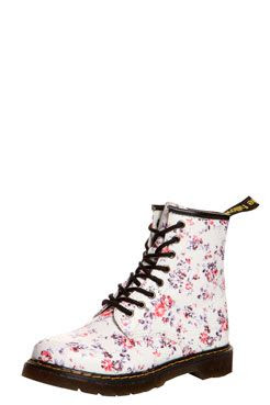 Lorella White and Purple Floral Lace Up Over Ankle Boot