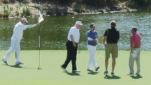 US President Donald Trump and Japan's Prime Minister Shinzo Abe enjoy playing golf in Florida on February 11, 2017.