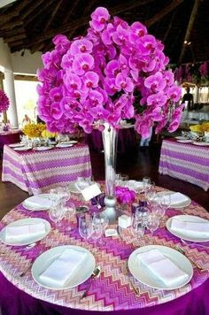 Flowers - Table Center - Radiant Orchid Wedding