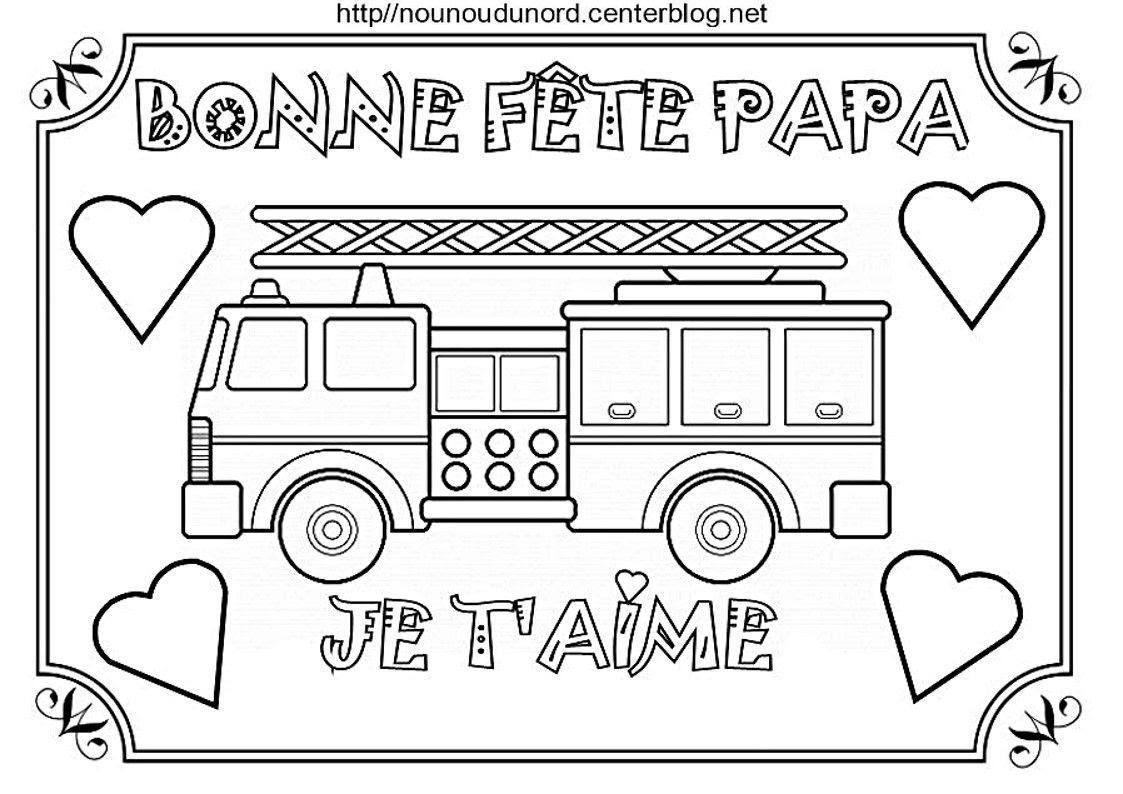 Bonne fªte papa camion de pompier vélo voiture ambulance