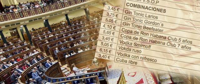 La Mesa del Congreso subvenciona el 'gin-tonic' a señorías e invitados: sólo costará 3,45 euros