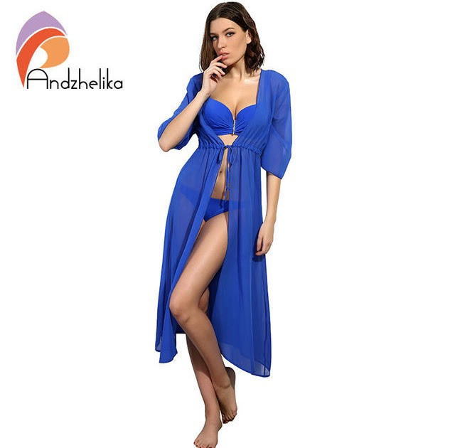2cbbc290a6 Vintage Swimsuit : Cheapest Online Andzhelika Swimsuit Cover Up 2018 Women  Sexy Beach Cover-Ups Chiffon Long Dress Solid Beach Cardigan Bathing Suit  Cover ...