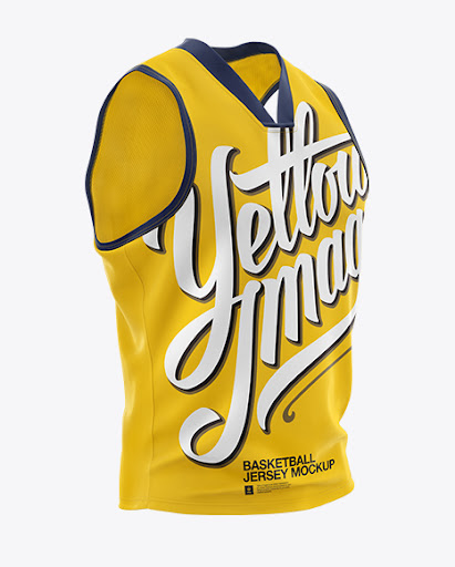 Download Basketball Jersey with V-Neck Mockup - Half Side View PSD ...