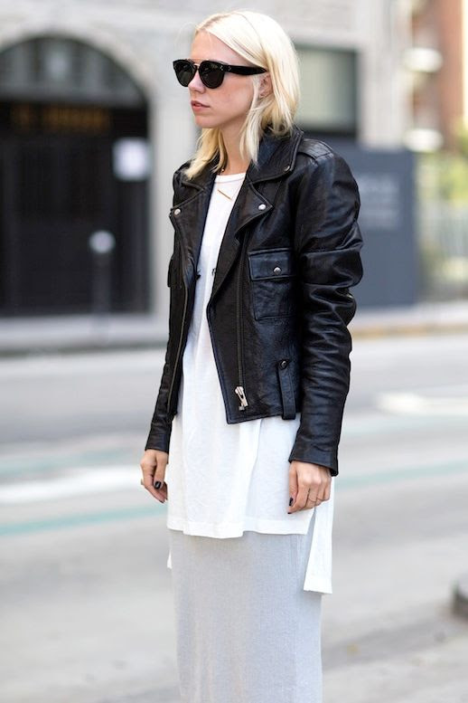 Le Fashion Blog Blogger Summer Style Sunglasses Leather Moto Jacket Long White Tunic Blouse Grey Sequin Midi Skirt Via Always Judging