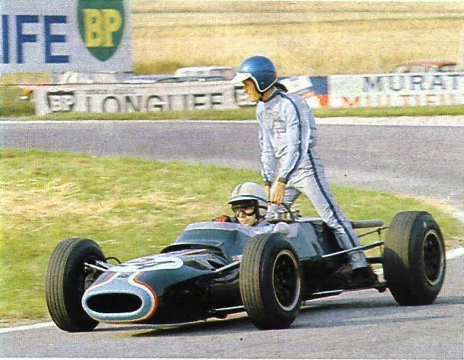 GP da França de 1966: o belga Jacky Ickx e o britânico John Surtees